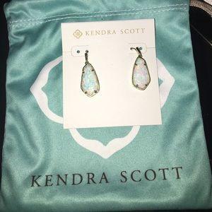 Kendra Scott Camelia Kyocera Opal Silver Earrings
